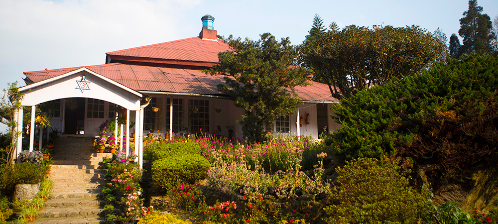 The bungalow on Goomtee Tea Estate in Darjeeling