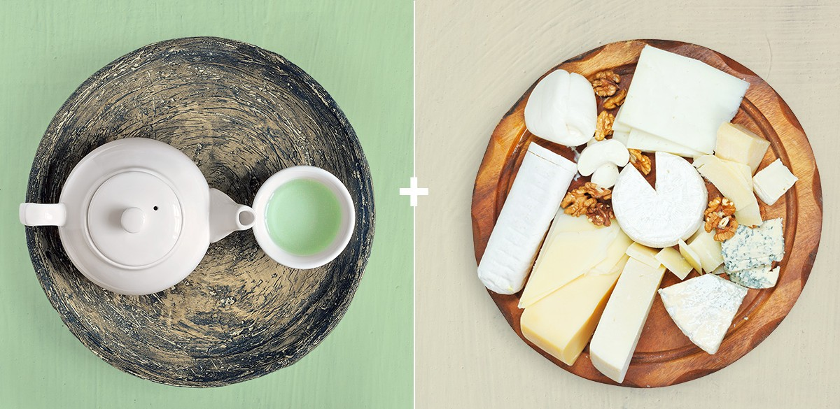 Move over wine, it's time for green tea and cheese.