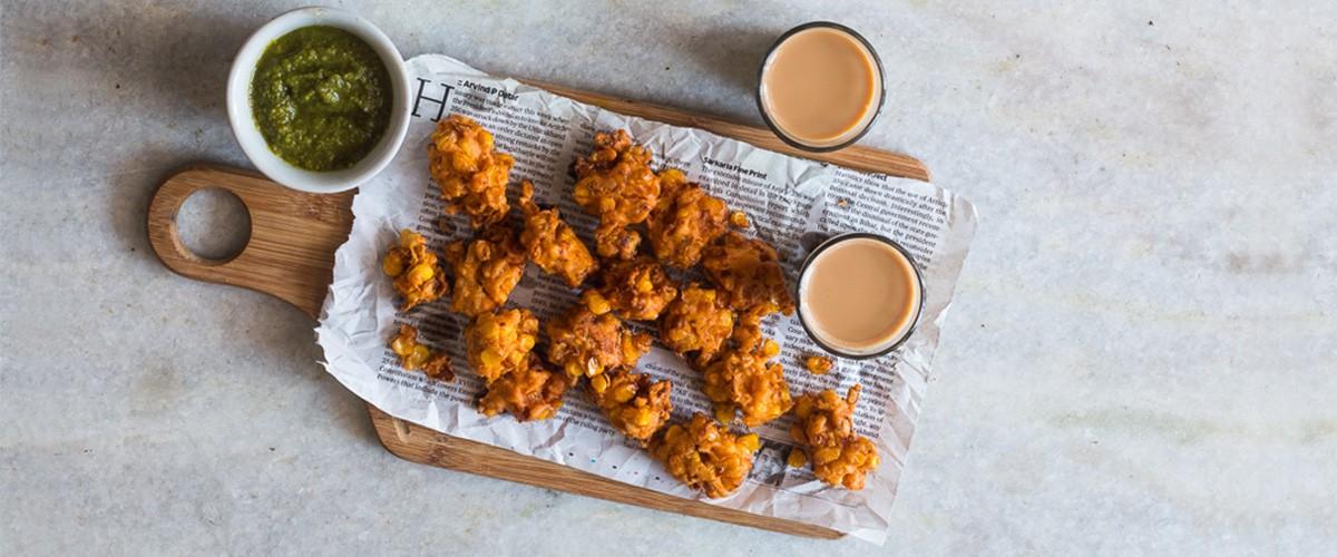 Corn Pakodas with Avocado Chutney