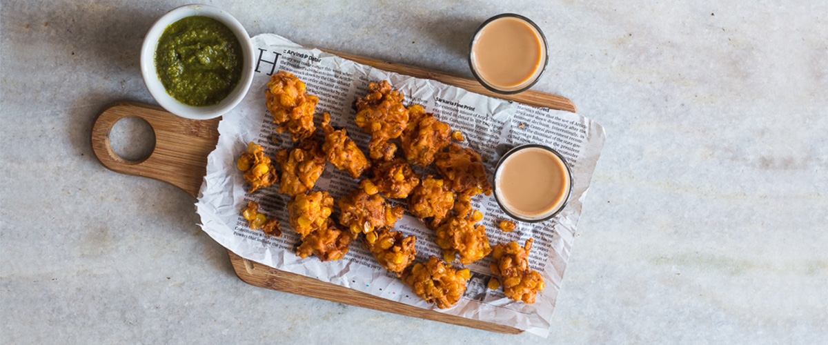 Corn Pakodas with Avocado Chutney